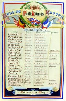 Sheffield Public Libraries Roll of Honour 1914-1918