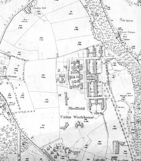 Sheffield Workhouse, Fir Vale, later Northern General Hospital on Ordnance Survey map